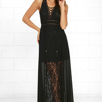 Midnight in the City Black Lace Maxi Dress