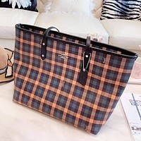 COACH New fashion plaid leather shoulder bag women handbag