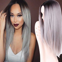 """Grey Ombre Wig False Hair Synthetic Wigs for Black Women 26"""" Long Straight Natural jenner Gray Wig Female Hair"""