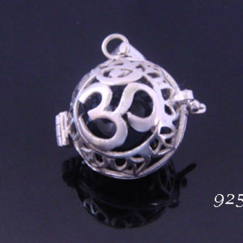 Harmony Ball Necklace Impressive & Symbolic with the Hindu Symbol for OM on the 925 Sterling Silver cage, Harmony Ball, Bola Necklace 595