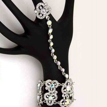 silver crystal floral hand bracelet ring bridal prom pageant