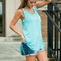 Re-lace Your Steps Tank, Turquoise