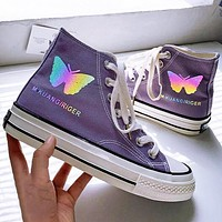 Butterfly reflective canvas shoes women hand painted original high top women's shoes purple