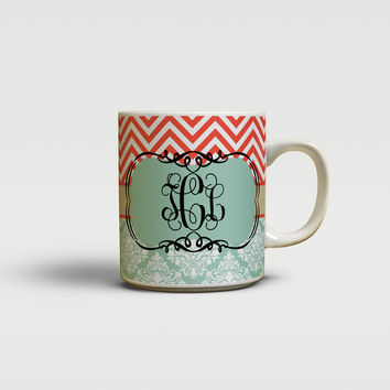 Floral and chevron - Gifts for co-workers - Customizable coffee mug or cup