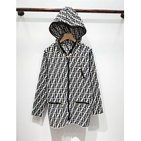Fendi New fashion more letter print knit hooded long sleeve sweater coat White
