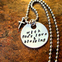 Hand Stamped Jewelry, Inspirational Words Jewelry, Religious Jewelry, With God's Love & Blessing
