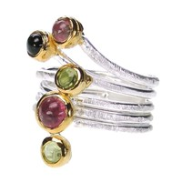 Polemis W12 - Sterling & Gold Plated Silver Wrap Ring with Gemstones