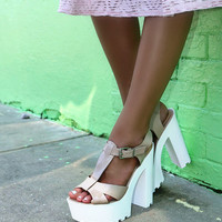 Wild Child Beige Platform White Bottom Ridged Heels