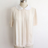ON SALE Vintage 80s Ivory White Silky Peter Pan Collar Pleated Blouse // Sheer Top