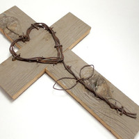 """Rustic Wall Hanging, 10"""" x 16"""", Barnwood Cross, Western Home Decor, Western Wall Hanging, Gifts Under 35"""