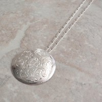 Engraved Medallion Necklace Sterling Silver  Southwestern Style 20 Inch Figaro Chain Vintage