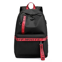 Off White New letter print couple leisure backpack bag