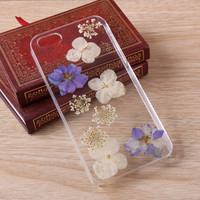 Consolida ajacis Lace Pressed Flower iPhone Galaxy case 059