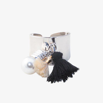 Silver Tassel and Pearl Adjustable Band Ring