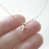 Tiny gold cross necklace gold filled chain simple by illusy