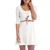 Belted Lace-Back Hacci Dress: Charlotte Russe