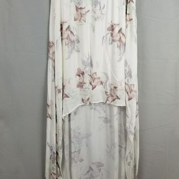 Floral Print Flynn High Low Maxi Skirt - Ivory/Multi