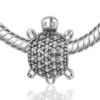 Authentic 100% 925 Sterling Silver Bead Charm Mini Little Turtle Crystal Beads Fit Pandora Bracelets & Bangles Necklace YW20131