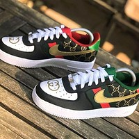 Nike Air Force 1 Skate shoes GUCCI Shoes Print Letters Sneakers Black Gold Hook