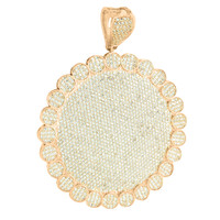Rose Gold Medallion Pendant Round Flower Design