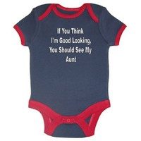 So Relative! - If You Think I'm Good Looking You Should See My Aunt - Navy  Red Ringer Baby Infant Short Sleeve Bodysuit Creeper