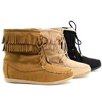 Womens New Ankle Boots Fringe Moccasin Flat Faux Suede Round Toe Booties New