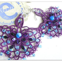 Lace tatted earrings 'Ebb tide' original designed handmade purple earrings - Tatted jewelery- Lace jewels- Made in Italy- purple turquoise