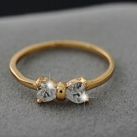 Fashion Noble Plated 18K Real Gold  Bow Ring Zirconia Crystal Rings