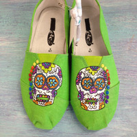 Funky & Colorful Sugar Skull Hand Painted Neon Green Canvas Shoes (Toms Style)/Women Shoes