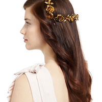 Jennifer Behr Rosabel Rose Hair Coronet, Gold