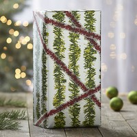 Tinsel Green and Silver Garland Gift Wrap