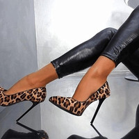 Ultra High Heels Leopard Print Pointed Toe Stilettos