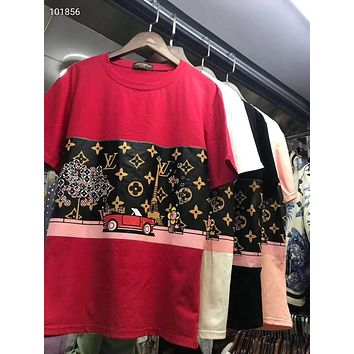 """LOUIS VUITTON"" Woman Leisure Fashion Letter Cartoon Personality Printing  Spell Color Hedging Crew Neck Short Sleeve Motion Tops"