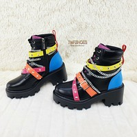 CR Star Burst Lace Up Multi Color Strap Platform Sneaker Combat Ankle Boots