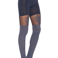 SPANX Floral Lace Over The Knee Tights in Gray Rib