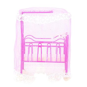 Plastic Cot Bed with Bed Net Doll Accessories Cute Bed Girls Dollhouse Furniture for Barbie Dolls Baby Toy Gift