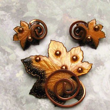 Vintage MATISSE Renoir Copper Jewelry Set Gold and Black Enamel Leaf Brooch and Earrings Set Circa 1950s!
