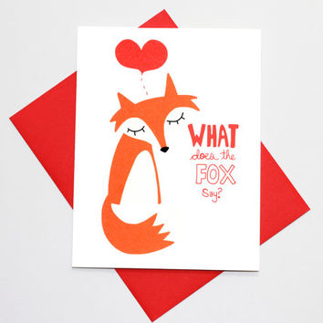 Valentine Card - Whats The Fox Say - Cute Valentines Day Card