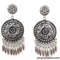 Oxidized circle with spike hanging Earring