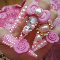 Pink Hime Kawaii 3D Deco Gyaru Lolita Princess Nails