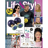 Navy & Sea Green Beaded Double-Sided Earrings (As seen in Life & Style Magazine)