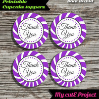 """Thank you - Cupcake toppers - Dark Orchid - Violet - Instant Download - Party printable - Party favor - Candy Bar - 5 cm / 2"""""""