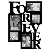 """ADECO PF0001-B 5-Opening Black Wooden Wall Hanging Collage Photo Picture Frames - Holds 4x4 4x6 5x7 Inch Photos,Saying """"FOREVER"""",Home Decor Wall Art,Best Gift: Home & Kitchen"""