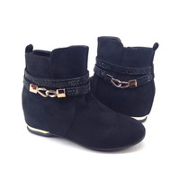 Black Suede Women's Boot with Buckle Detail and Rhinestones and Hidden Wedge