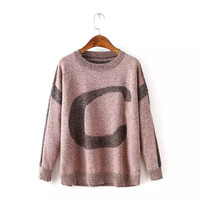 Casual Knitted Long Sleeve Letter Pattern Sweater