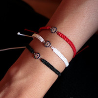 Set of 3 Evil Eye Bracelets, Sterling silver evil eye handwoven adjustable macrame slipknot bracelets, White, Black, Red layering gift ideas