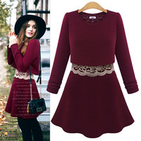 Long-Sleeve Layer Lace Top A-Line Dress