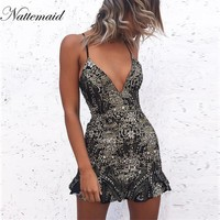 Sexy Deep V Sequin Backless Lace Up Dress Sleeveless Straps Evening Party Short Camisole Nightclub Wear