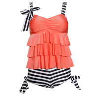 Spaghetti Strap Striped Women's Swimsuit