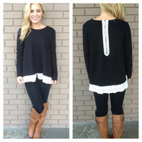 Black Hamptons Eyelet Lace Sweater